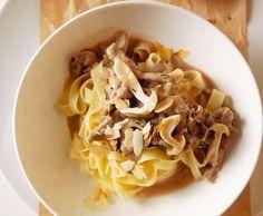 Tagliatelle mit Kalbfleisch-Pilz-Sauce