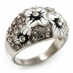Dome Shaped Crystal Flower Ring (Silver Tone) - size 7 Avalaya. $14.04. Occasion: cocktail party, casual wear. Material: enamel. Metal Finish: rhodium plated. Theme: floral. Gemstone: diamante