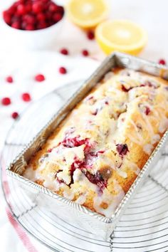 Perfect Orange Cranberry Bread Recipe on twopeasandtheirpo… Sweet orange bread dotted with cranberries and drizzled with an orange glaze! This bread is perfect for the holidays! The post Or . Holiday Bread, Holiday Baking, Christmas Baking, Christmas Bread, Christmas Movies, Yummy Recipes, Baking Recipes, Dessert Recipes, Recipies
