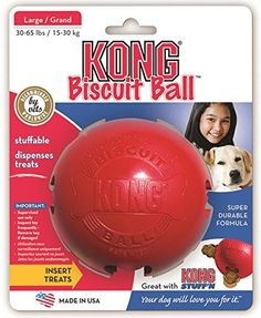 Kong Biscuit Ball dog toy has a hollow center and 4 bone shaped ports to hold treats and pastes. Made of high quality natural red rubber. Keeps dogs busy playing and removing treats. Dog Physical Therapy, Le Kong, Kong Treats, Dog Toys Amazon, Biscuits, Kong Toys, Dog Chew Toys, Dog Chews, Pets