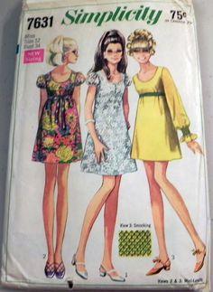 Simplicity 7631 1960s Mini Dress pattern by retroactivefuture, $9.00