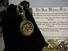 Biblical Widows Mite Coin in Sterling Silver pendant, Vintage Religious Jewelry Religious Jewelry, Sterling Silver Pendants, Pocket Watch, Coins, Accessories, Vintage, Rooms, Vintage Comics, Pocket Watches