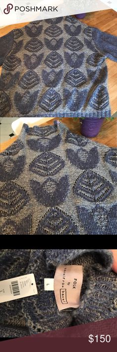 Anthropologie FOLK sweater size large NWT! Women's anthro sweater NWT! In excellent condition as it's new. One tiny pull by the neck line as shown in the pic. Came that way. Didn't bother me any. 55% acrylic 30% nylon 15% mohair. Very chic and warm. Sweaters Crew & Scoop Necks