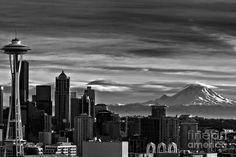 Seattle Skyline In Black And White Photograph - Seattle Skyline In Black And White Fine Art Print Photography Essentials, City Photography, Black And White City, Black And White Pictures, Seattle Skyline Tattoo, Seattle Football, Seattle Art, Seattle Washington, Washington Tattoo