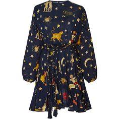 Ella Printed Dress  | Moda Operandi (5.304.150 IDR) ❤ liked on Polyvore featuring dresses, patterned skater skirt, print dress, boat neckline dress, blue skater skirt and blue print dress