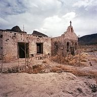 Contrabando Abandoned Movie Set In Big Bend National Park, Texas I have a super cool picture of Dane in front of the set when we went camping in Big Bend. Abandoned Churches, Old Churches, Abandoned Places, San Antonio, Texas Travel, Old Buildings, Old West, Ghost Towns, National Forest
