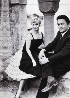 GIULIETTA MASINA AND FEDERICO FELLINI ...i love her dress.