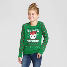 Girls' Lol Vintage Meowy Ugly Christmas Sweater Green L, Girl's, Size: Large Gender: female. Kids Ugly Sweater, Ugly Kids, Kids Christmas Sweaters, Xmas Sweaters, Xmas Jumpers, Green Sweater, Vintage Girls, Pullover Sweaters, Girl Outfits