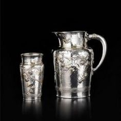 Antique French silver pitcher and goblet by Christofle.  Can you tell I love aesthetic movement silver?