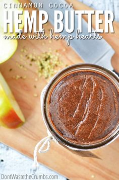 A creamy, cinnamon-y, chocolate-y smooth hemp heart butter that folks with or without nut allergies will love.  Featuring hemp seeds, it's the perfect nut-free butter for your pantry!  :: DontWastetheCrumbs.com #realfood #recipe