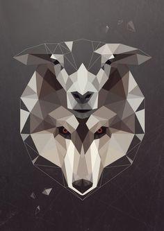 geometric wolf sheep