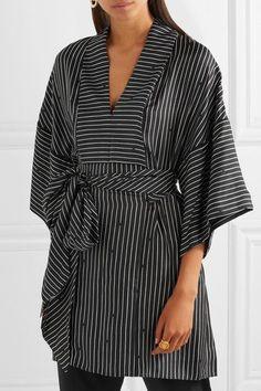 Diane von Furstenberg - Belted Striped Silk-twill Blouse - Black