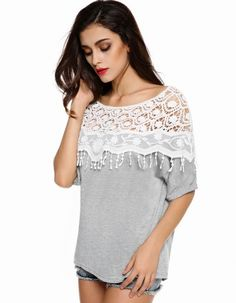 Finejo Korean Stylish Ladies Women Casual O Neck Half Sleeve Lace Patchwork T-Shirt Tops_Tees / T-shirt_Women_Women's Fashion Zone & Best Price Clothes