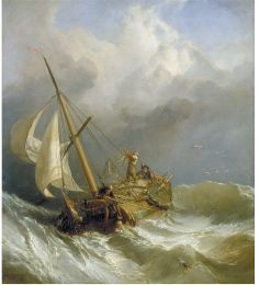 Oil painting, 'A Dutch Dogger Carrying Away her Sprit ('On the Dogger Bank')', Clarkson Stanfield, 1846