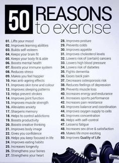 50 reasons to exercise - fitness workout motivation! Some great reasons to get out and get busy! - Try out today enjoy health fitness Via Montag Motivation, Gewichtsverlust Motivation, Weight Loss Motivation, Motivation Inspiration, Exercise Motivation Quotes, Workout Inspiration, Skinny Motivation, Body Inspiration, Motivation To Work Out