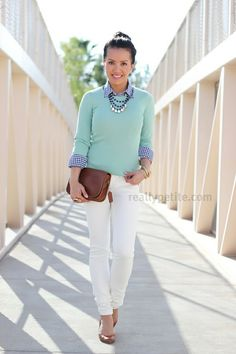 Looks so fresh and springy.  I like the beaded necklace, small earrings, and brown shoes and clutch.  Other accessories not so much.  Here hair really makes the entire thing look so polished.  This is a good way to do mint, also.
