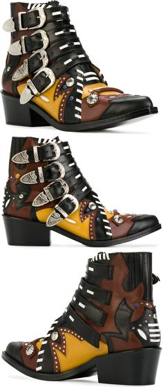 Multicolored Leather Buckle Strap Ankle Toga Pulla Boots