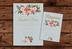 Printable Wedding Invitation and RSVP Bundle by SomebodyLovedShop, $35.00