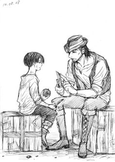 "little Levi and Kenny. Kenny is probably saying ""okay now that you know how to cut apples you need to know how to cut people """
