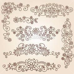 Tatuaje de henna paisley vides y flores mehndi garabatos — Ilustración de stock #13916373