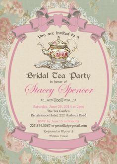 victorian high tea party invitations_surprise party invitation, Baby shower invitations