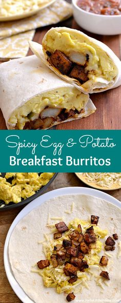 Spicy Egg And Potato Breakfast Burritos . A Delicious Vegetarian Breakfast Recipe That's A Great Way To Start Your Day Make This Easy Recipe As Hot Or As Mild As You Prefer. It's The Perfect Portable Morning Meal Hello Little Home Breakfast Potatoes, Breakfast Burritos, Eat Breakfast, Breakfast Ideas, Breakfast Casserole, Gazpacho, Vegetarian Breakfast Recipes, Vegetarian Dinners, Vegetarian Eggs
