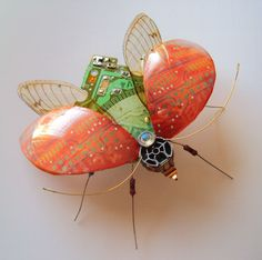 Winged Insects Made From Old Computer Circuit Boards And Electronics by Julie…