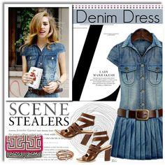 denim dress by paris-therri on Polyvore featuring Mola SaSa, Liza Schwartz, DenimDress, graphicclutch and yoins
