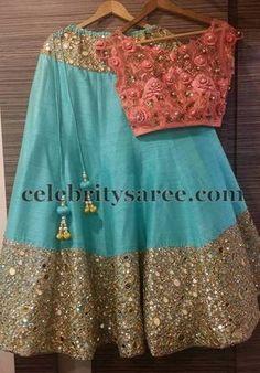 Mirror Work Half Saree by Mugdha Lehenga Designs, Saree Blouse Designs, Dress Designs, Indian Wedding Outfits, Indian Outfits, Half Saree Lehenga, Anarkali, Kids Dress Patterns, Indian Look