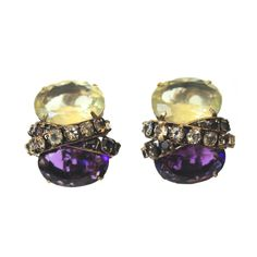 Iradj Moini Amethyst & Lemon Quartz Clip Earrings | From a unique collection of vintage clip-on earrings at https://www.1stdibs.com/jewelry/earrings/clip-on-earrings/