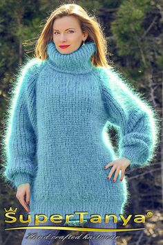 Aqua blue hand knitted ribbed mohair sweater polo jumper by