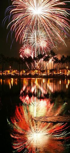 Fireworks offshore ala moana beach park, Honolulu, Hawaii...I Miss the 4th of july at ala moana