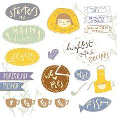 Cute menu stickers vector illustration Free Vector
