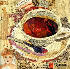 Coffee Cup Collage Painted, 12066 ~ Hand Painted and Found Paper ~ by Texas Collage Artist Nancy Standlee