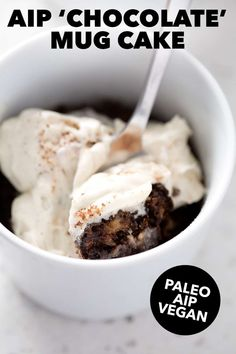 If you're looking for a quick AIP dessert, try this AIP Chocolate Mug Cake. It's 5-minute recipe and only takes 2 utensils; a mug and a spoon! This recipe fits the Vegan, Whole30, Paleo and AIP diet. My Recipes, Cake Recipes, Vanilla Frosting Recipes, Diet Desserts, Aip Diet, Chocolate Mug Cakes, Health Coach, Autoimmune, Utensils