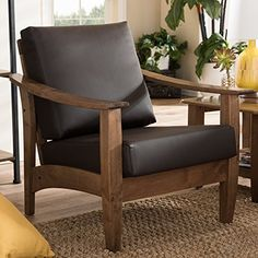 Baxton Studio Philbert Mid Century Modern Walnut Wood and Dark Brown Faux Leather 1 Seater Lounge Chair