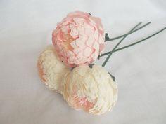 Bridal flower,paper flower,wedding flower,paper peonies,wedding peony,peonies bridal,bridesmaids bouquet,bridal peony,flower paper 3 pcs.