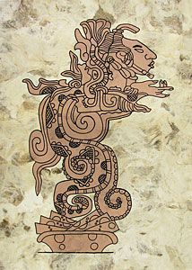 This handmade bark painting depicts a Mayan deity in the gaping jaws of a serpent.  The serpent represents the Kukulkan god.  Corresponds to the Classic period, 700 A.C. LaFuente.com