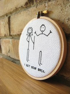 "Items similar to Sleeping Unicorn Girl Decor - Wall or Shelf Art - Completed Cross Stitch on Etsy Friend Embroidery Hoop Art, ""I got your back"" Stick Figure Ornament Funny Embroidery, Embroidery Hoop Art, Cross Stitch Embroidery, Embroidery Patterns, Cross Stitch Patterns, Craft Quotes, Cross Stitching, Sewing, Crafts"