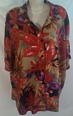 Tapestry Hawaiian Shirt Blouse Size 2X Womens Purple Red Orange Tropical Leaves  #Tapestry #Hawaiian #Any