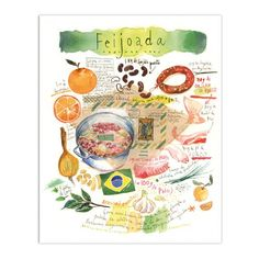 Feijoada - Illustrated recipe from Brazil - Watercolor illustration on vintage brazilian letter