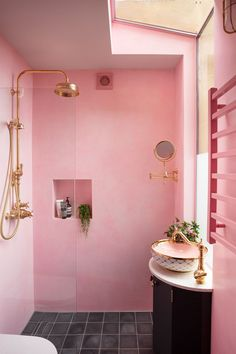 Pink bathroom with waterproof plaster walls, grey cement Bert May tiles, brass Perrin Rowe shower and a pink and gold London Basin Company Agnes sink Bad Inspiration, Bathroom Inspiration, Interior Inspiration, Bathroom Ideas, Bathroom Organization, Pink Bathroom Decor, Pink Home Decor, Ikea Bathroom, Boho Bathroom