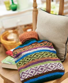 Fair Isle hot water bottle - free knitting pattern download from Let's Knit!