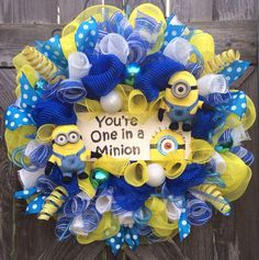 Minion Party, Despicable Me Party, Everyday Wreath, All Season Wreath, Minion Decor, One in a Minion on Etsy, $125.00