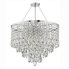 Dar PES0550 Pescara 5 Light Crystal Layered Ceiling Pendant Light