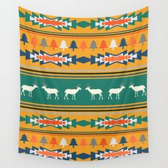 Available in three distinct sizes, our Wall Tapestries are made of 100% lightweight polyester with hand-sewn finished edges. Featuring vivid colors and crisp lines, these highly unique and versatile tapestries are durable enough for both indoor and outdoor use. Machine washable for outdoor enthusiasts, with cold water on gentle cycle using mild detergent - tumble dry with low heat. #homedecor #winter #Christmas @society6