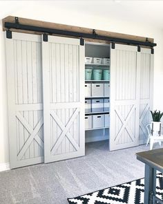 Stacked sliding doors for closet office
