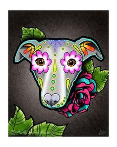 Whippet - Greyhound Day of the Dead Dog Sugar Skull Dog Art Print - 8 x Greyhound Tattoo, Chihuahua Tattoo, Greyhound Art, Crane, Dog Skull, Framed Art Prints, Canvas Prints, Dog Frames, Dead Dog