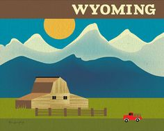 Wyoming Skyline Teton Park Scene - Original Wall Art Poster Print for Home, Office, Nursery - style E8-O-WYO
