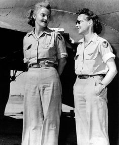 """Nancy Love (left) and Betty (Huyler) Gillies, the first women to fly the Boeing B-17 Flying Fortress heavy bomber. The two WAFS were set to ferry a B-17 named Queen Bee to England when their flight was cancelled by General """"Hap"""" Arnold."""